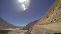 POV motorbike riding desert area Nubra River, Ladakh, India                      Stock Footage