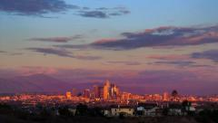 Los Angeles city skyline, sunset to night. - stock footage