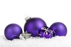Christmas, christmas decoraton purple and silver Stock Photos