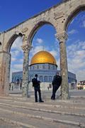 Security guards at the dome of the rock, jerusalem - stock photo