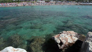 Stock Video Footage of View of rocky shallow near Coral Bay beach in Peyia, Paphos, Cyprus