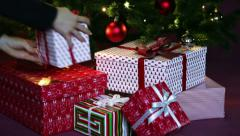 Christmas tree and presents close-up Stock Footage