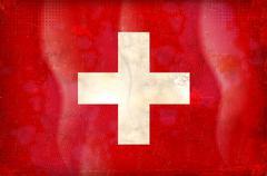 Vektori grunge tyylistä Sveitsin lippu Piirros