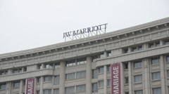 Hotel Marriot sign Stock Footage