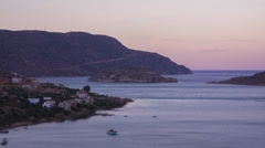 Spinalonga Island, Crete Wide Time Lapse Sunsets over famous leper colony island Stock Footage