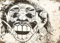 balinese mask - stock illustration