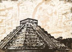 Antique Mayan Pyramid - stock illustration