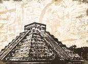 Antique Mayan Pyramid Stock Illustration
