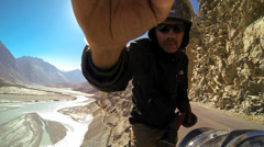 Selfi POV ride Nubra River Khardung Pass, Ladakh, India                          Stock Footage