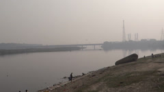 Yamuna river a panoramic view Stock Footage