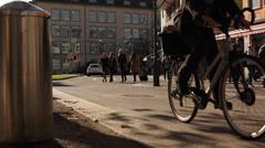 Walking people at Oberer Graben - Winterthur Stock Footage