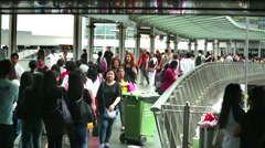 People on Hong Kong Central Pier & Green Recycling bin Time Lapse Stock Footage
