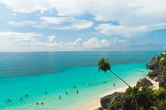 Tulum beach in Quintana Roo, México Stock Photos
