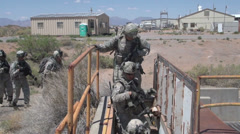 US - Bunker Practice 03 - Soldiers Walking To Entrance 02 - stock footage