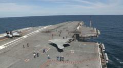 X47-B - On USS-George-HW-Bush 01 Stock Footage