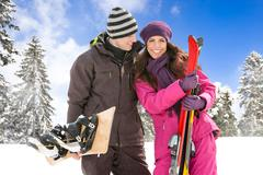 Couple on ski holiday Stock Photos