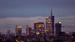 Stock Video Footage of Milan skyline at sunset - time lapse