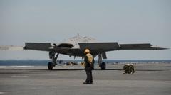 X47-B - Take-off On USS-George-HW-Bush 02 Stock Footage