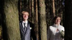 Wedding couple in autumn park. Stock Footage