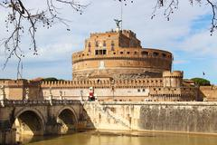 Sant'Angelo bridge and castle in Rome, Italy - stock photo