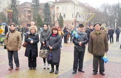Ukrainian political action opposition inTernopol Stock Photos