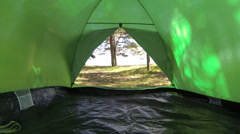 A green tent on the nature Stock Footage