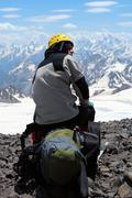 Climber on a alp Stock Photos