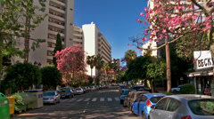 Downtown Marbella, from car Stock Footage