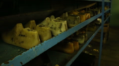 Shoe pads on the shelves Stock Footage