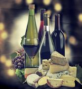 Wine ,grape and cheese Stock Photos