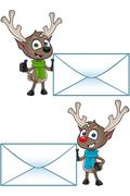 Cartoon Reindeer Character - stock illustration