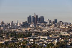 lincoln heights and downtown los angeles - stock photo
