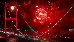 Bosphorus, Istanbul New Year Eve Stock Footage