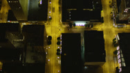 Stock Video Footage of Wide birdseye aerials shot following 3rd Avenue through Downtown Seattle,