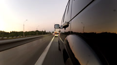 Overtaking trailer on the highway Stock Footage