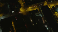 Stock Video Footage of Wide aerial shot tilting up 3rd Avenue to reveal and approach the Space Needle,