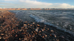 Lake Namtso in sunset, Tibet, China Stock Footage