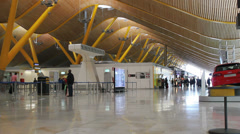 Barajas Airport. Passenger terminal. Modern and beautiful. Madrid, Spain 2 Stock Footage