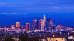Los Angeles skyline sunset to night transition . Timelapse. Stock Footage