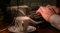 close shot of vintage writer using a typewriter - stock footage