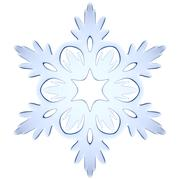 blue icy decorative snowflake - stock illustration