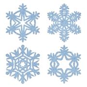 blue frosty decorative snowflakes set - stock illustration
