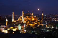 Moonrise at aya sofya - stock photo