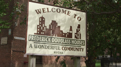 New York City Public Housing Sign Stock Footage