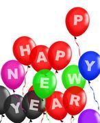 happy new year balloons floating - stock illustration
