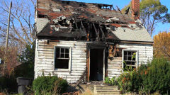 Pan of burned out house in Detroit (HD) k - stock footage