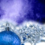 blue bright christmas ornament out of focus blue blank - stock illustration