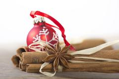 Christmas decoration red and brown Stock Photos