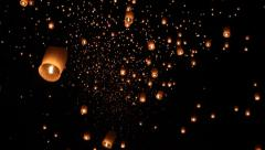 Floating asian lanterns in ChiangMai ,Thailand Stock Footage