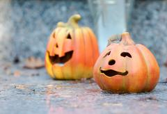 Ceramic halloween pumpkins Stock Photos